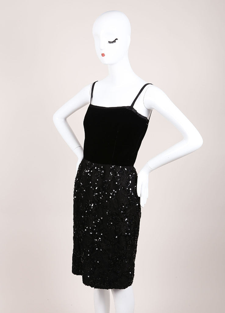 Oscar de la Renta Black Velvet Mesh Sequin Trim Sleeveless Cocktail Dress Sideview