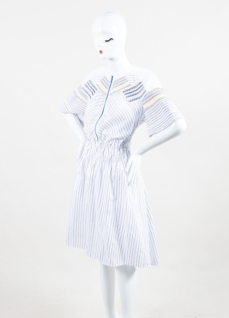 "Peter Pilotto White and Blue Cotton Stripe Smocked ""Step"" Short Sleeve Dress Sideview"