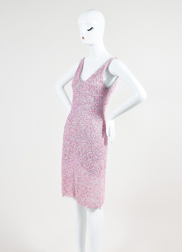 Philosophy Di Alberta Ferretti Pink and Silver Beaded Sleeveless Cocktail Dress Sideview