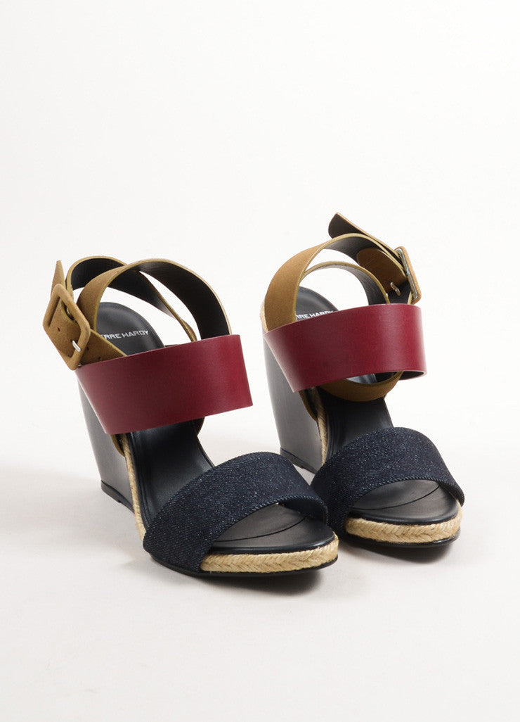 "Pierre hardy Burgundy and Blue Leather and Denim ""BK58"" Sandal Wedges Frontview"