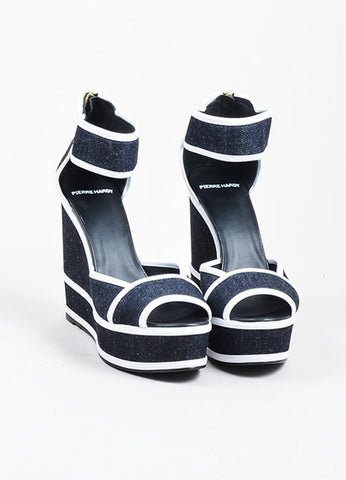 Dark Denim and White Leather Pierre Hardy Platform Wedge Sandals Frontview
