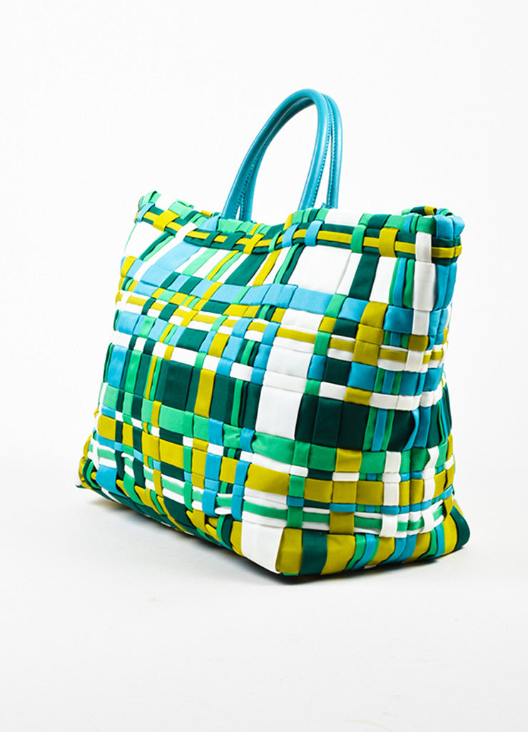 Prada Green, Teal, and White Tessuto Nylon Leather Trim Woven Tote Bag Sideview
