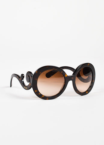 "Prada Brown Gradient Lens Tortoise ""Baroque"" Round Oversize Sunglasses Sideview"