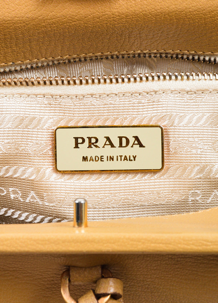 Camel Tan Prada Pebbled Leather Double Handle Push-Lock Frame Satchel Bag Brand