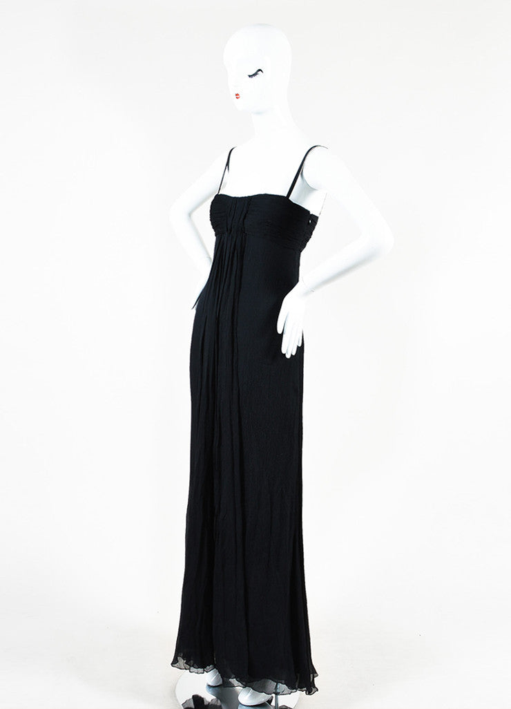 Prada Black Silk Crinkle Pleated Empire Waist Sleeveless Gown Sideview