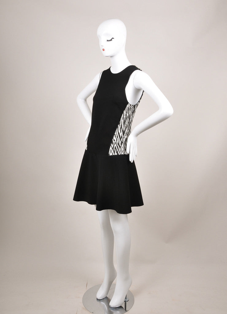 Proenza Schouler New With Tags Black and White Plaster Jacquard Drop Waist Dress Sideview