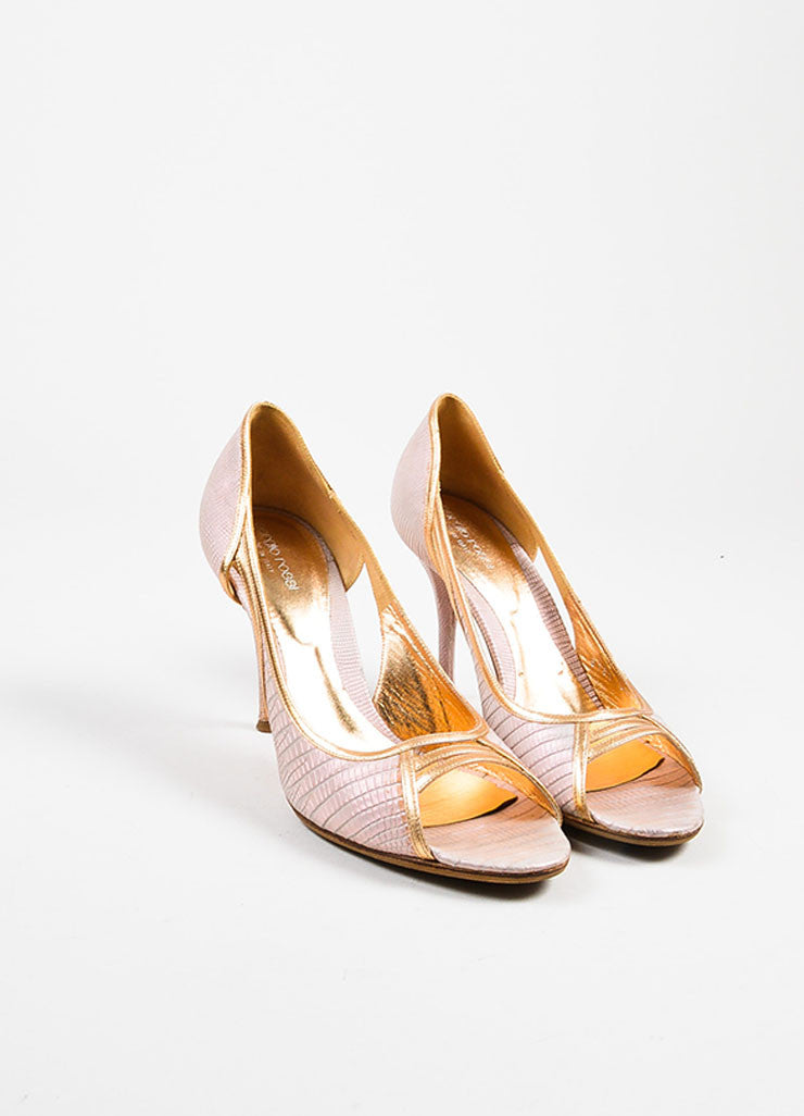 Sergio Rossi Pink Leather Snake Embossed Iridescent Peep Toe Pumps Frontview