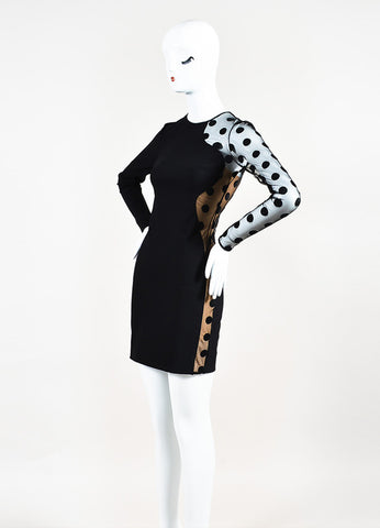 Black Stella McCartney Sheer Polka Dot Long Sleeve Sheath Dress Side
