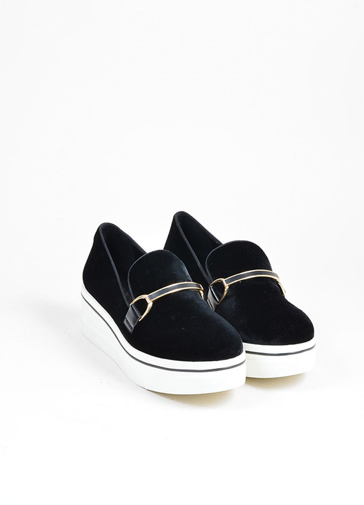 "Black Stella McCartney Velvet ""Binx"" Horsebit Platform Loafers Frontview"