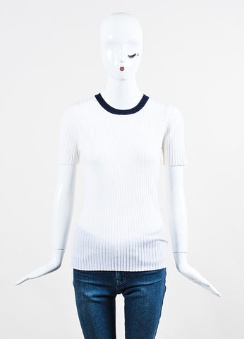 T by Alexander Wang White and Navy Merino Wool Ribbed Knit Short Sleeve Top Frontview