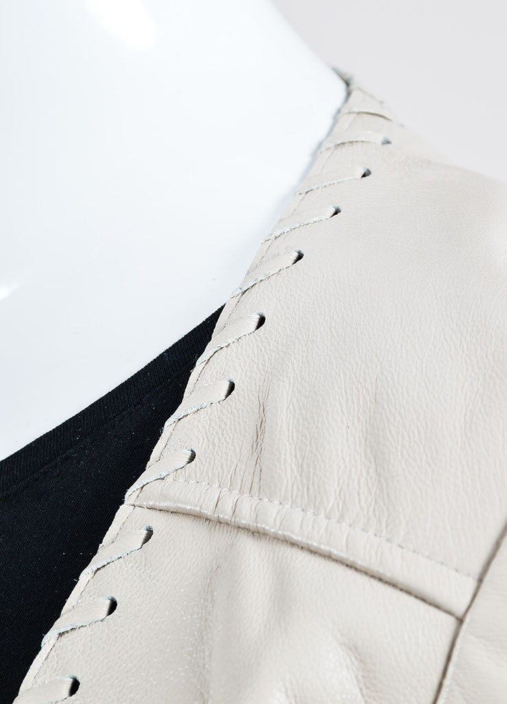 "The Perfext Cream Leather Laced ""Christy"" Fringe Jacket Detail"