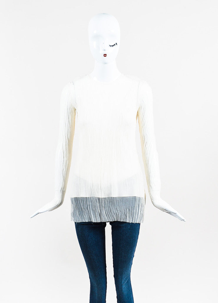 "The Row Cream Silk Chiffon Micro Pleated Long Sleeve ""Mahdan"" Top Frontview"