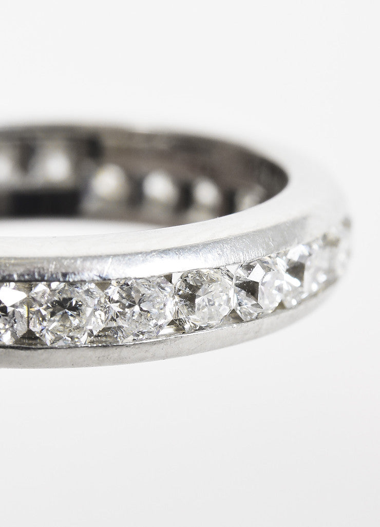 "Tiffany & Co. Platinum Diamond Channel Set ""Lucida"" Band Ring Detail"