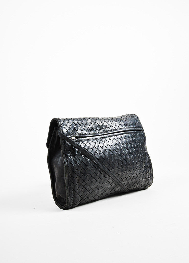 Bottega Veneta Black Woven Leather Shoulder Flap Bag Sideview