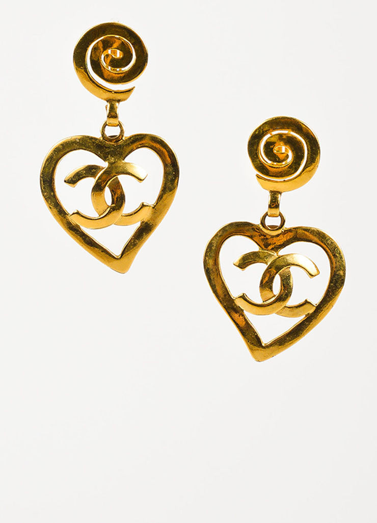 Chanel Gold Toned 'CC' Logo Heart Drop Clip On Statement Earrings Frontview