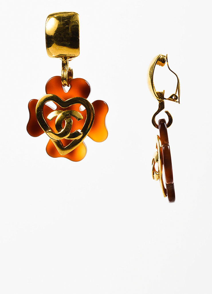 Gold Toned and Tortoise Resin Chanel 'CC' Heart Clover Clip On Earrings Sideview