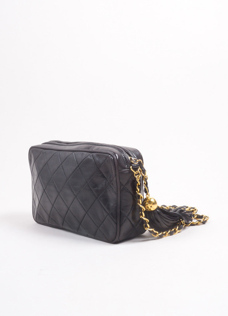 "Chanel Black Quilted Lambskin ""CC"" Tassel Chain Strap Shoulder Bag Sideview"