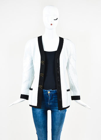 Chanel Boutique Black & White Sequined 'CC' Button Structured Jacket Front