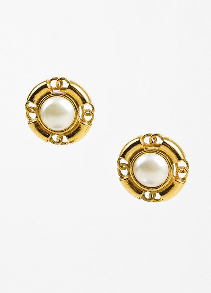 Gold Chanel Faux Pearl Cut Out CC Logo Clip On Earrings Front