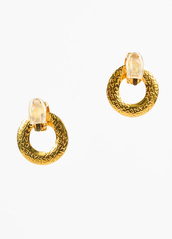 Chanel Gold Toned Letter Script Convertible Post Hoop Clip On Earrings Backview