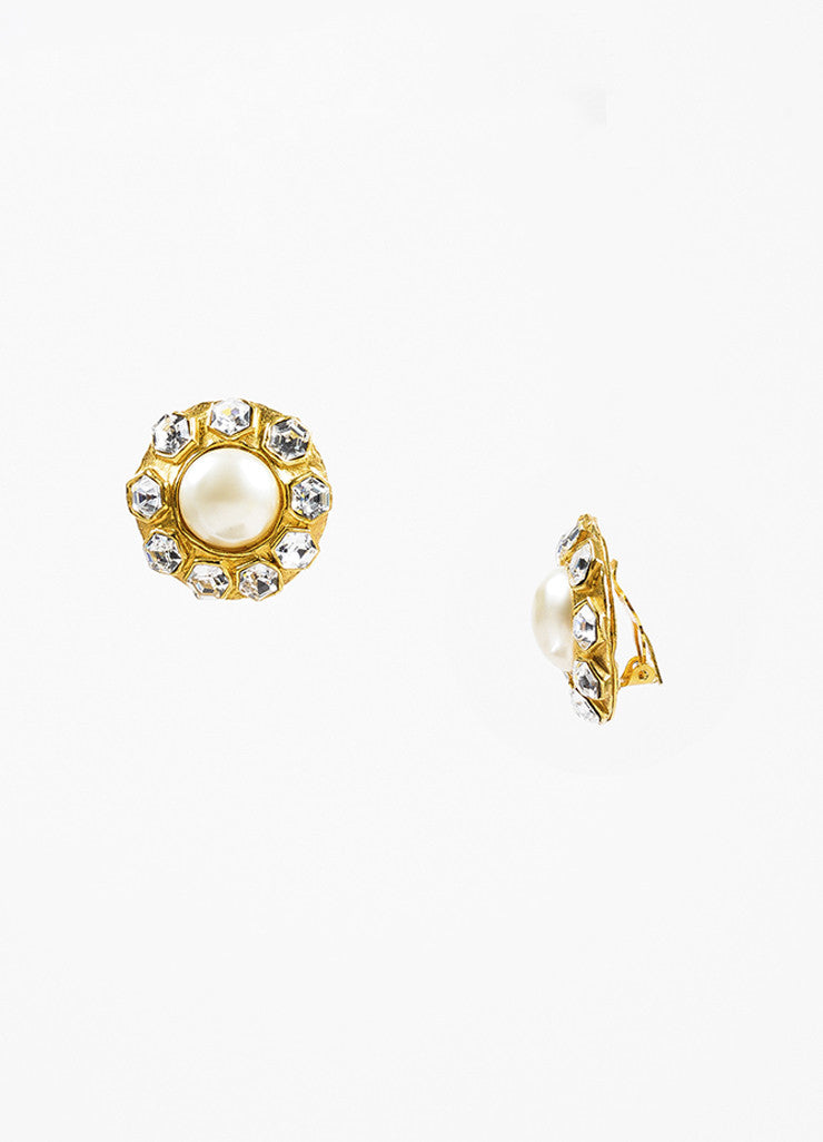 Chanel Gold Toned Oversized Faux Pearl Crystal Round Clip On Earrings Sideview