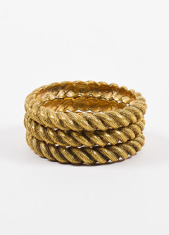 Chanel Gold Toned Textured Etched Rope Set of 3 Bangle Bracelets Frontview 2