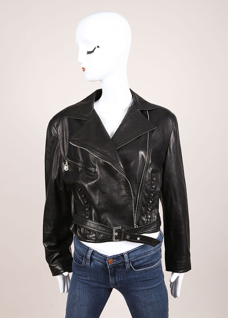 Gianni Versace Black Leather Crop Moto Belted Long Sleeve Jacket Frontview