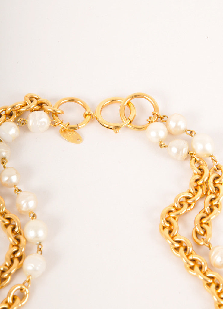 Chanel Gold Toned and Cream Faux Pearl and Chunky Chain Long Double Strand Necklace Detail 3