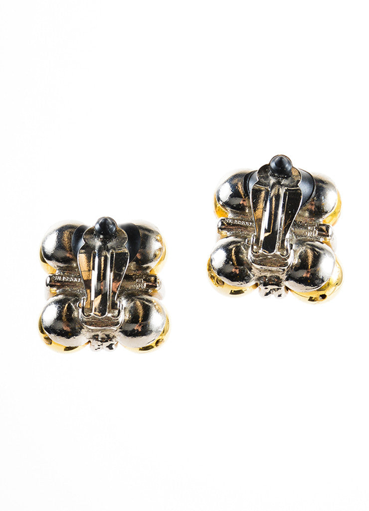 Robert Goossens Silver and Gold Toned Ball Square Earrings Backview
