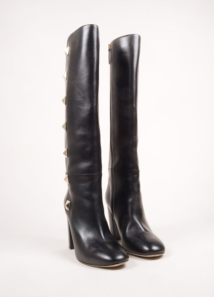 "Valentino Black and Gold Toned Leather ""Rockstud"" Knee High Chunky Heel Boots Frontview"
