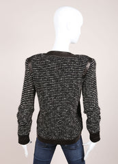 Valentino Black and White Wool Knit and Leather Boucle Tweed Fur Trim Long Sleeve Jacket Backview