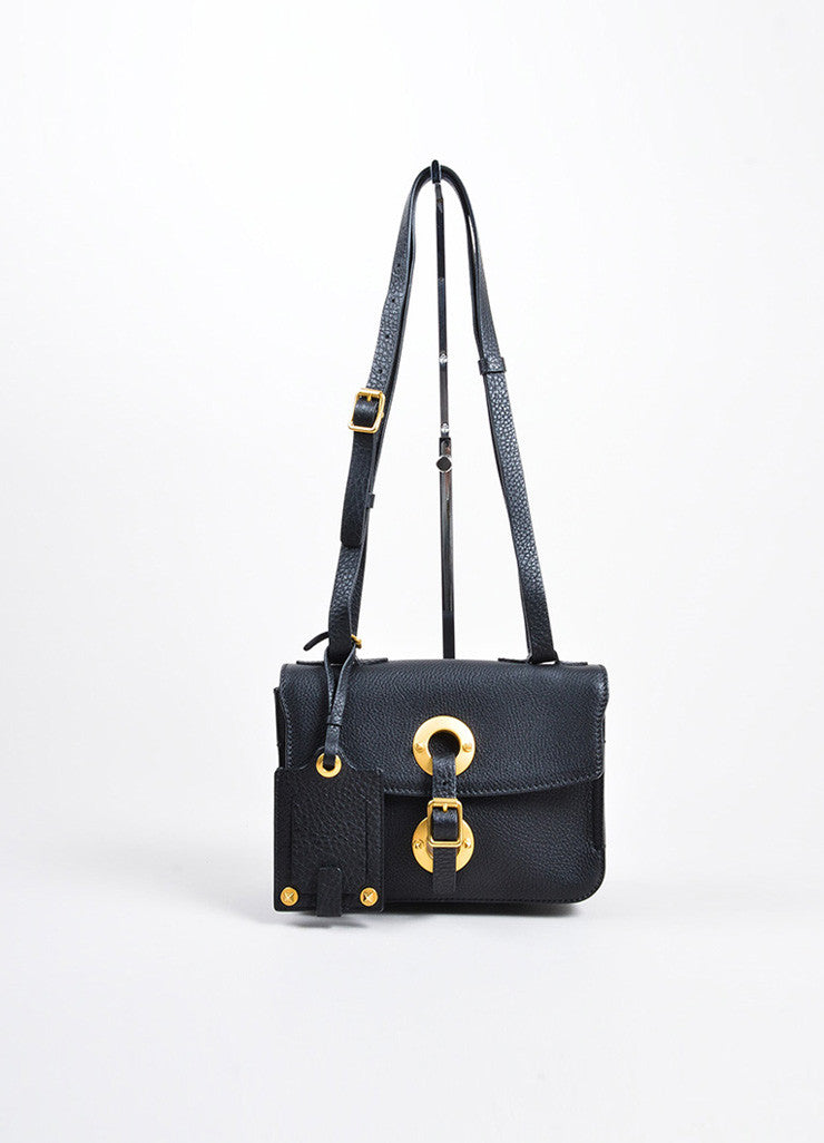 "Black and Gold Toned Grain Leather Valentino ""Eye On You"" Shoulder Bag Frontview"