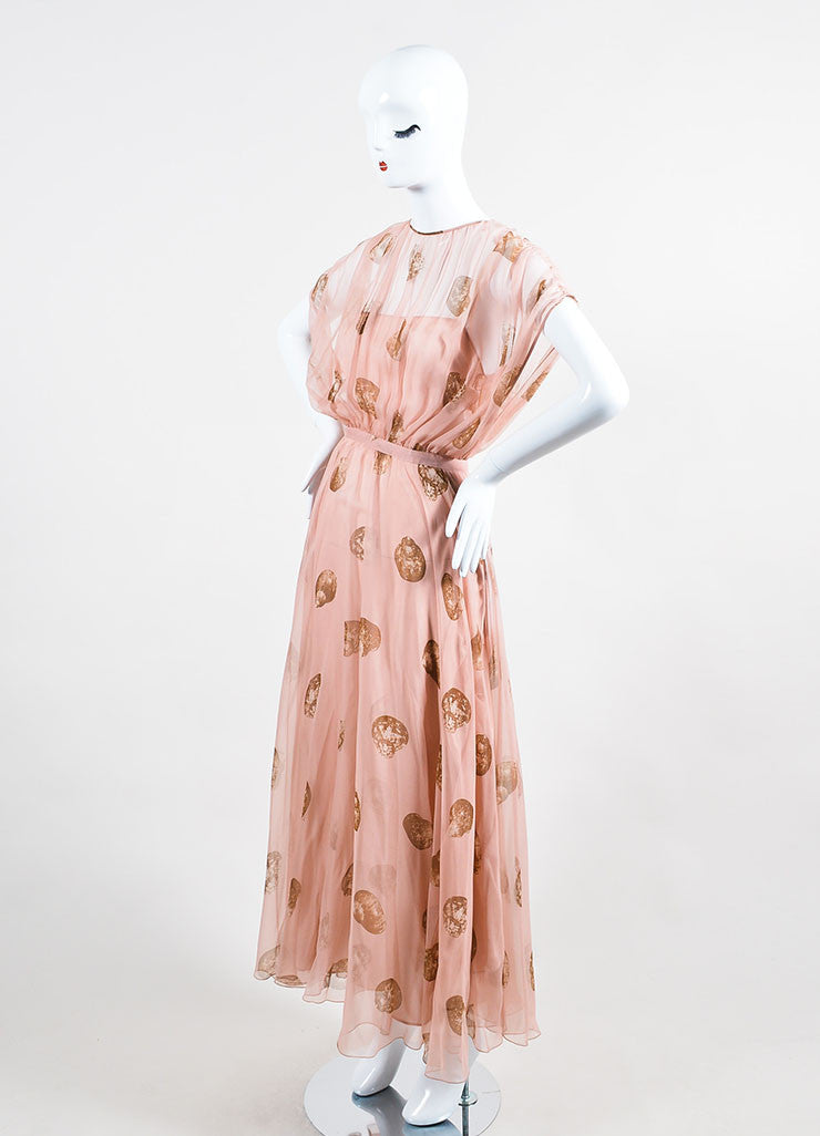 Pale Pink and Brown Valentino Silk Seashell Printed Blouson Gown Sideview