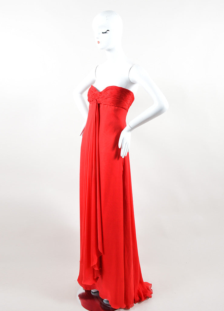 Valentino Red Chiffon Sweetheart Strapless Ruched Straight Empire Gown Sideview