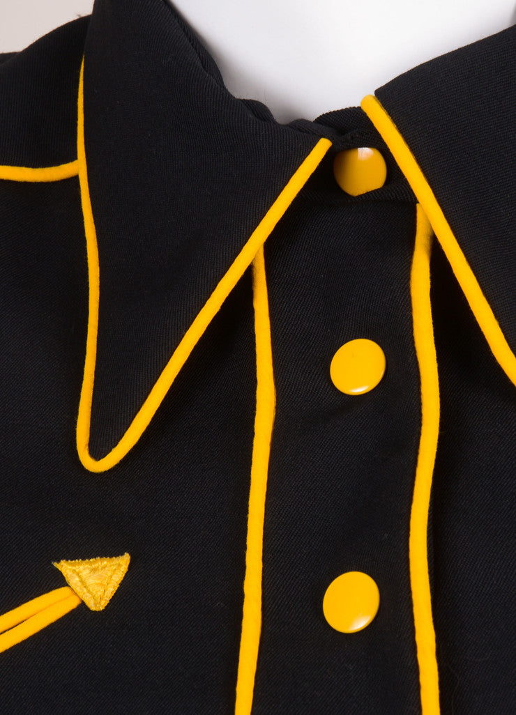 Norma Kamali Black and Yellow Military Jacket Detail