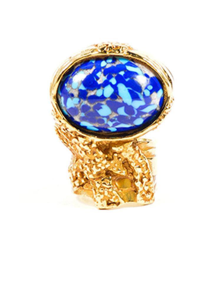 Yves Saint Laurent Gold Toned Textured Blue Enamel Stone Statement Ring Frontview
