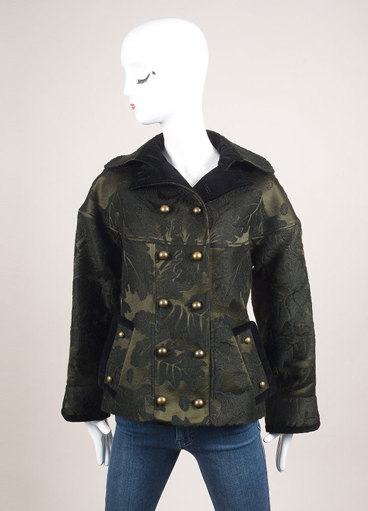 Yves Saint Laurent Green and Black Brocade Leaf Jacket Frontview