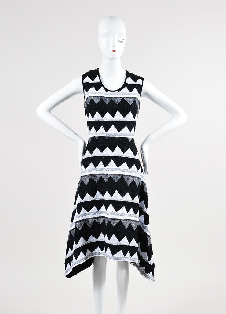 Black and White Yigal Azrouel Zig Zag Sleeveless Dress Front 2