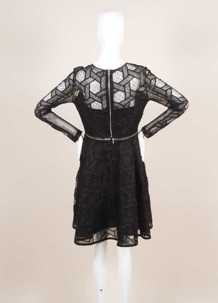 Yigal Azrouel New With Tags Black Leather Trim Lace and Mesh Two Way Zip Dress Backview