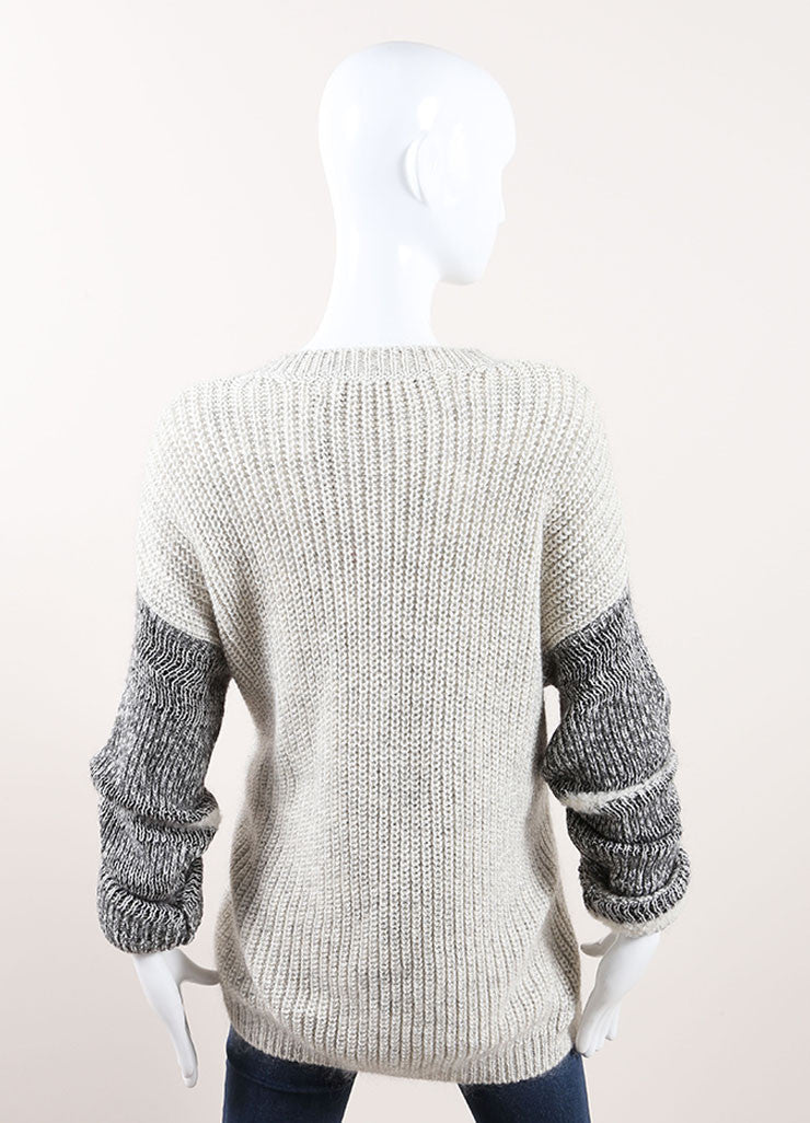 Yigal Azrouel Grey Cotton and Wool Varsity Stripe Pull Over Sweater Backview