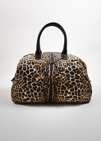 "Yves Saint Laurent Brown, Black, and Cream Nylon Leopard Print ""Muse"" Bag Frontview"