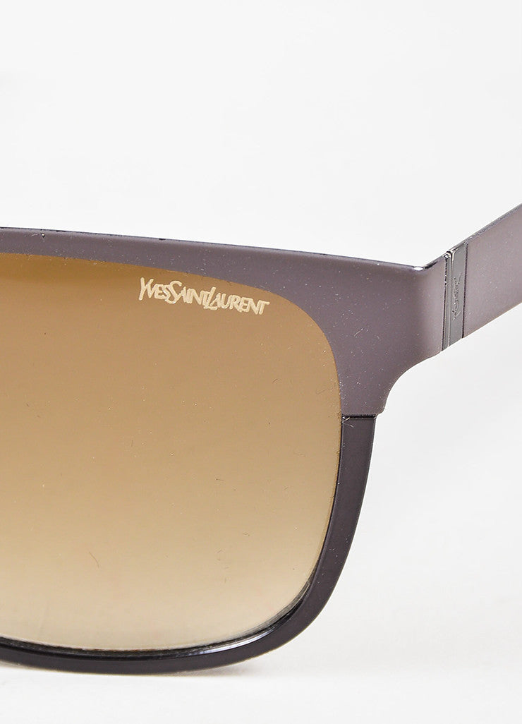 Yves Saint Laurent Grey Gradient Lens Purple Black Rubber Metal Frame Sunglasses Detail