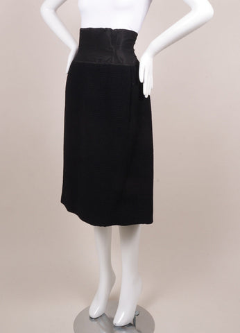 Christian Dior Black Textured High Waisted Pencil Skirt Sideview
