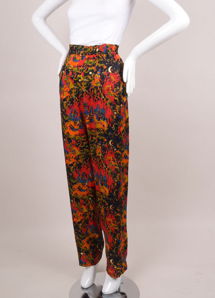 Black, Red, and Gold Silk Castle and Horse Print Pants