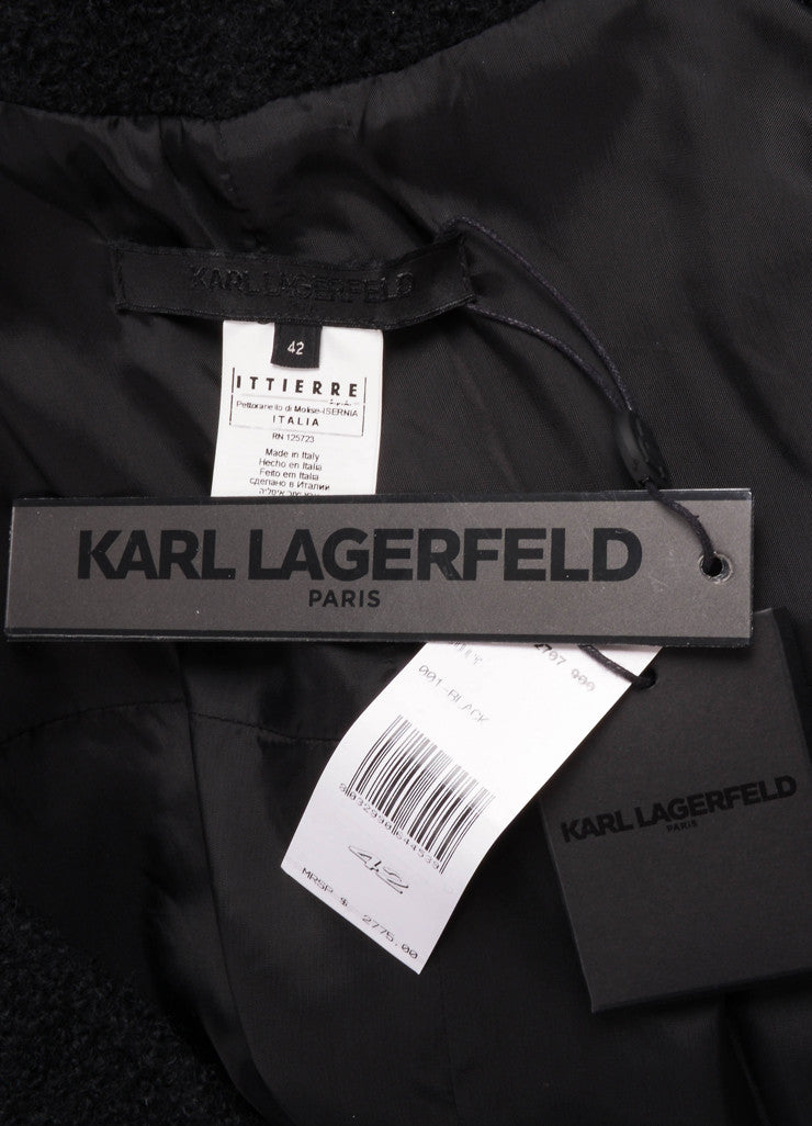 Karl Lagerfeld Black Wool Draped Long Sleeve Jacket