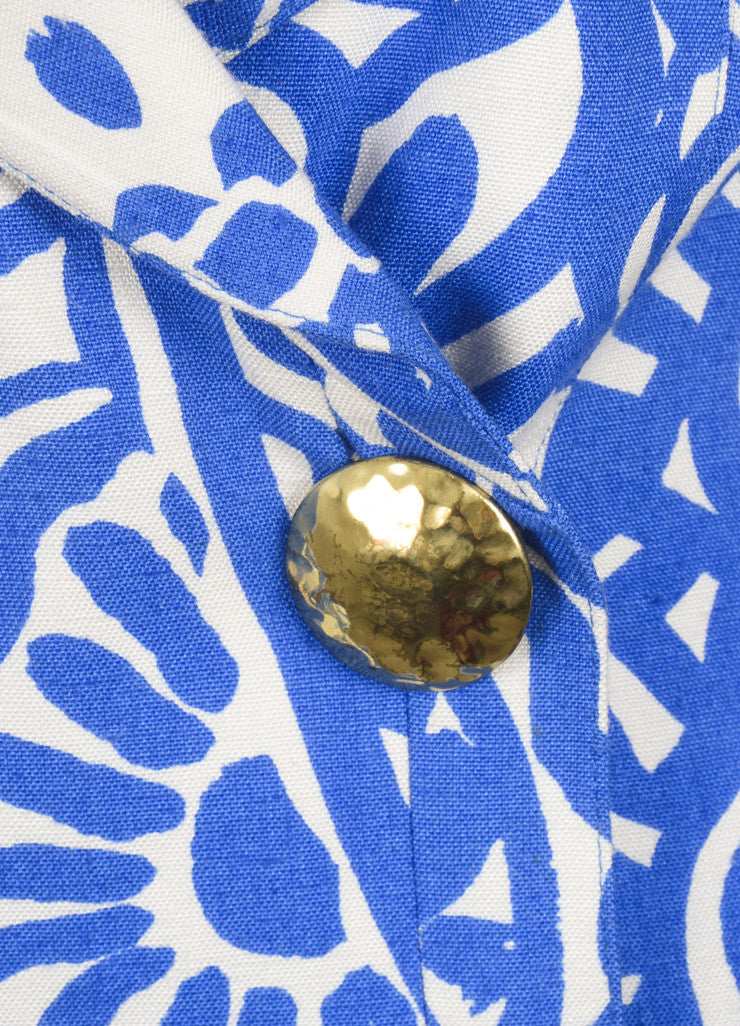 Christian Lacroix Blue and White Abstract Print Blazer Jacket Detail