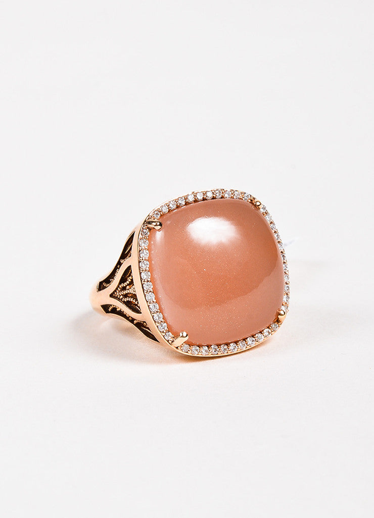 Tacori 18K Rose Gold Moonstone Diamond Cushion Cocktail Ring Front