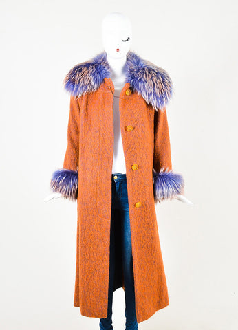 Zuki Orange Mohair Lavender Fur Trim Long Button Up Coat Frontview
