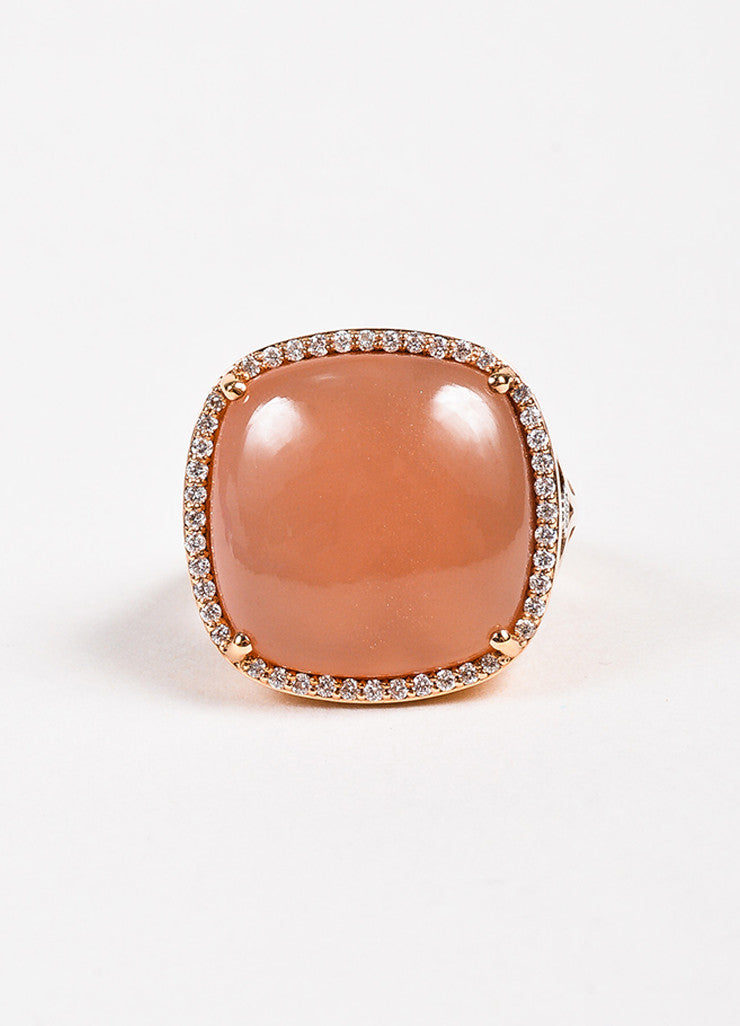 Tacori 18K Rose Gold Moonstone Diamond Cushion Cocktail Ring Front 2
