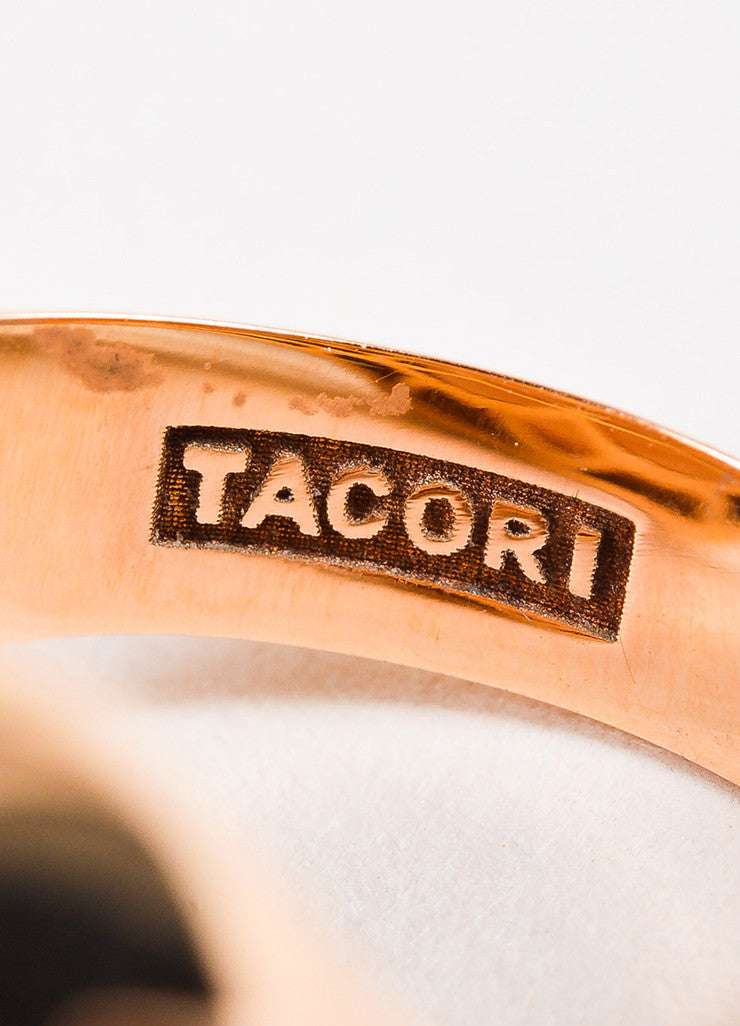 Tacori 18K Rose Gold Moonstone Diamond Cushion Cocktail Ring Detail 4
